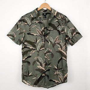 H&M Tropical Leaf Button Down Shirt